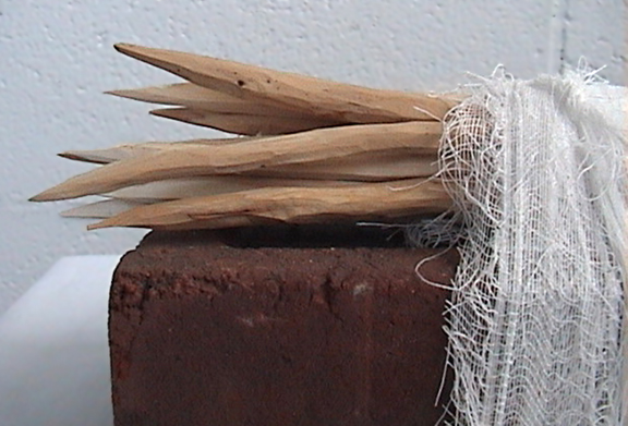'prayer brick - stick detail' Contemporary First Nations sculpture
