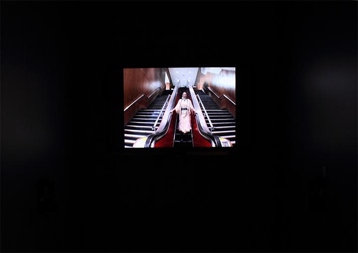 self portrait in alterNation Esker Foundation - video installation by native Canadian artist Jude Norris