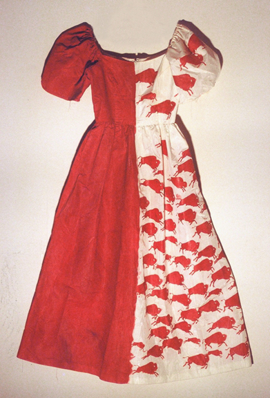 Mixed Blood Buffalo Ball Gown wearable art by Contemporary First nations artist Jude Norris